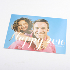 Create Your Own Happy 2016 Foil Silver Personalized Christmas Photo Card