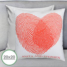 Heart Fingerprint Personalized Large Pillow Cushion Cover 20
