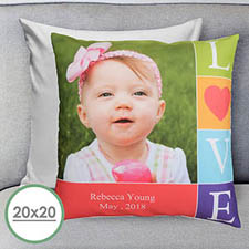 Colorful Love Personalized Large Pillow Cushion Cover 20