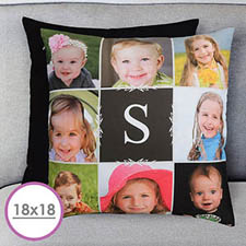 18 X 18 Monogrammed Photo Collage Personalized Pillow  Cushion (No Insert)