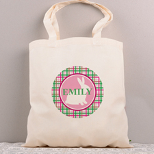 Pink Bunny Personalized Easter Tote Bag