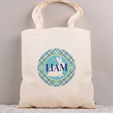 Blue Bunny Personalized Easter Tote Bag