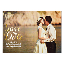 Create Your Own Real Foil Gold Treasured Date Personalized Photo Save The Date, 5X7