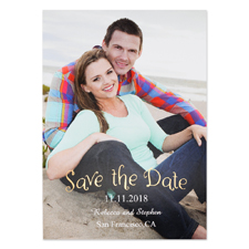 Foil Natural Shine Personalized Photo Save The Date Card