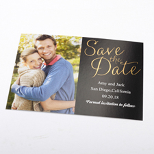 Create Your Own Foil Gold Delight Personalized Photo Save The Date Card