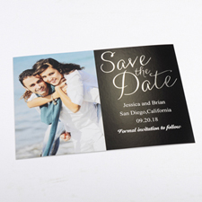 Foil Silver Delight Personalized Photo Save The Date Card