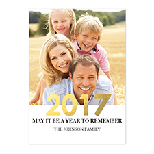 Foil Gold Personalized Photo New Year Card