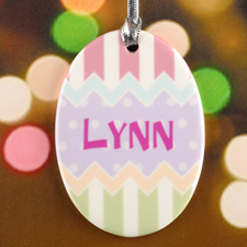 Lavender Dots Chevron Personalized Easter Egg Ceramic Ornament