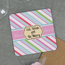 Eat, Drink And Be Merry Personalized Cork Coaster