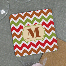 Fall Chevron Personalized Cork Coaster