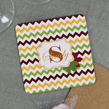 Happy Thanksgiving Personalized Cork Coaster