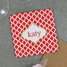 Christmas Red Personalized Cork Coaster