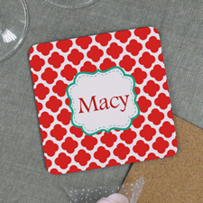 Red Clover Personalized Cork Coaster