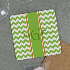 Lime Chevron Personalized Cork Coaster