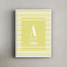 Yellow Chevron Personalized Poster Print, 18X24
