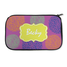 Personalized Neoprene Floral Cosmetic Bag (6 X 10 Inch)