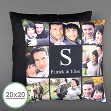 Eight Collage Personalized Photo Large Pillow Cushion Cover 20