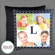 Initial Four Collage Personalized Photo Large Pillow Cushion Cover 20