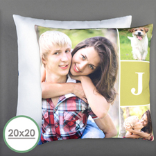 Monogrammed Personalized Photo Pillow 20 Inch  Cushion (No Insert)