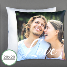 Script Love Personalized Photo Pillow 20 Inch  Cushion (No Insert)
