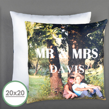 Mr. And Mrs. Personalized Pillow 20 Inch  Cushion (No Insert)