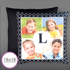 Initial Four Collage Personalized Photo Large Cushion 18