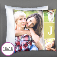 Monogrammed Personalized Photo Pillow Cushion (18 Inch) (No Insert)