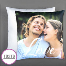 Script Love Personalized Photo Pillow Cushion (18 Inch) (No Insert)