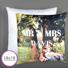 Mr. And Mrs. Personalized Pillow Cushion (18 Inch) (No Insert)