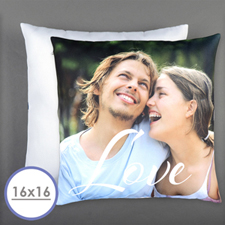 Script Love Personalized Photo Pillow 16 Inch  Cushion (No Insert)