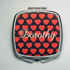 Personalized Many Hearts Compact Make Up Mirror