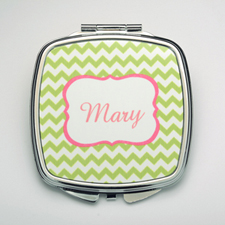 Personalized Lime Chevron Compact Make Up Mirror