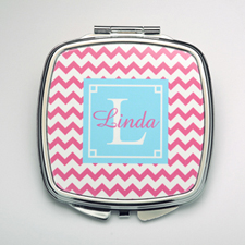 Personalized Fuchsia Chevron Compact Make Up Mirror