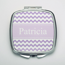 Personalized Lavender Chevron Compact Make Up Mirror