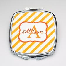 Personalized Orange Stripe Compact Make Up Mirror