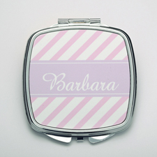 Personalized Pink Stripe Compact Make Up Mirror