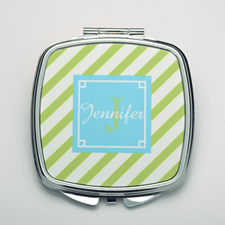 Personalized Lime Stripe Compact Make Up Mirror