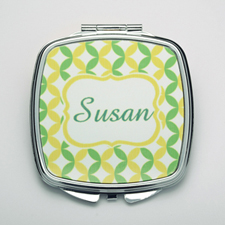 Personalized Lime & Ocean Compact Make Up Mirror
