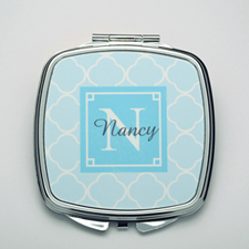Personalized Ocean Quatrefoil Compact Make Up Mirror