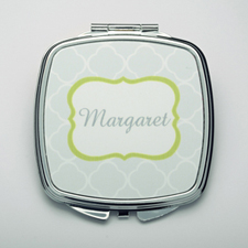 Personalized Grey Quatrefoil Compact Make Up Mirror