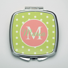 Personalized Lime Polka Dot Compact Make Up Mirror