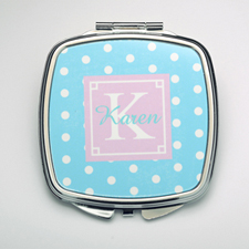 Personalized Ocean Polka Dot Compact Make Up Mirror