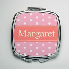 Personalized Pink Polka Dot Compact Make Up Mirror