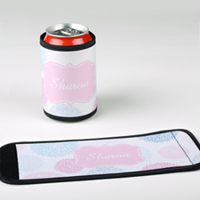 Pale Floral Personalized Can And Bottle Wrap