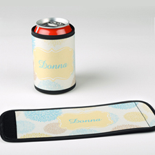 Aqua Wood Flower Personalized Can And Bottle Wrap