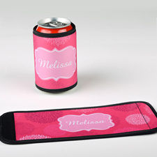 Fuchsia Floral Personalized Can And Bottle Wrap