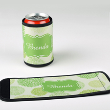 Green Floral Personalized Can And Bottle Wrap