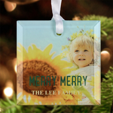 Merry Merry Personalized Photo Glass Ornament Square 3""