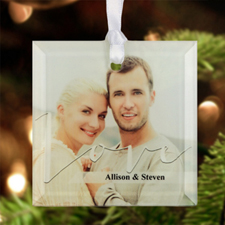 """Love Personalized Photo Glass Ornament Square 3"""""""