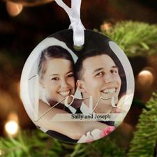 "Love Personalized Photo Glass Ornament Round 3"""
